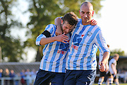 Jack Hayward of Worthing United scores to put his side 1-0 in front and celebrates with Sam Blundell during the FA Vase 1st Qualifying Round match between Worthing United and East Preston FC at the Robert Eaton Memorial Ground, Worthing, United Kingdom on 6 September 2015. Photo by Phil Duncan.