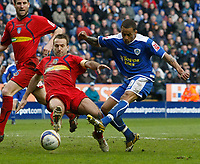 Photo: Steve Bond/Richard Lane Photography. <br />Leicester City v Colchester United. Coca Cola Championship. 12/04/2008. DJ Campbell (L) shoots, but is blocked by Karl Duguid (L)