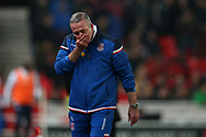 Paul Lambert, the manager of Stoke City looks dejected on the touchline. Premier league match, Stoke City v Manchester City at the Bet365 Stadium in Stoke on Trent, Staffs on Monday 12th March 2018.<br /> pic by Andrew Orchard, Andrew Orchard sports photography.