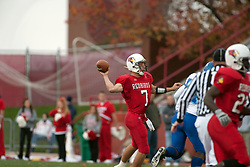 12 November 2005: Redbird QB Luke Drone drops to throw one of his 5 touchdown passes of the day.  Illinois State Redbirds topple the Indiana State Sycamore 70-28 at Hancock Stadium in Normal Illinois