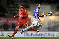 FOOTBALL - FRENCH CHAMPIONSHIP 2010/2011 - L2 - LEMANS FC v EVIAN TG - 12/11/2010 - PHOTO JEAN MARIE HERVIO / DPPI - GUILLAUME RIPPERT (ETG) / THORSTEIN HELSTAD (LMFC)