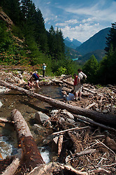 Hikers Take in the View Along Sourdough Creek Trail, North Cascades National Park, Washington, US