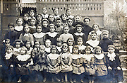 large school group portrait with teacher early 1900s France