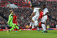 Liverpool Goalkeeper Loris Karius makes a save from Steven Pienaar of Sunderland. Premier League match, Liverpool v Sunderland at the Anfield stadium in Liverpool, Merseyside on Saturday 26th November 2016.<br /> pic by Chris Stading, Andrew Orchard sports photography.