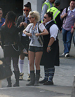 SARAH HARDING AND CAST ON SET OF ST TRINIANS   SOUTH BANK MON 10 AUG PIC High Quality Prints,please enquire via contact Page. Rights Managed Downloads available for Press and Media