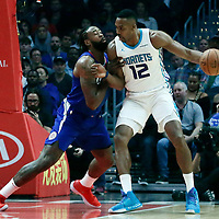 31 December 2017: Charlotte Hornets center Dwight Howard (12) posts up LA Clippers center DeAndre Jordan (6) during the LA Clippers 106-98 victory over the Charlotte Hornets, at the Staples Center, Los Angeles, California, USA.