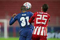 PIRAEUS, GREECE - DECEMBER 09: Nanu of FC Porto and José Holebas of Olympiacos FC during the UEFA Champions League Group C stage match between Olympiacos FC and FC Porto at Karaiskakis Stadium on December 9, 2020 in Piraeus, Greece. (Photo by MB Media)