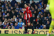 Zlatan Ibrahimovic of Manchester United celebrates with his teammate after he scores his teams 1st goal. Premier league match, Everton v Manchester United at Goodison Park in Liverpool, Merseyside on Sunday 4th December 2016.<br /> pic by Chris Stading, Andrew Orchard sports photography.