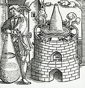 'Athanor, a digesting furnace, with water bath and hermetic vase. From ''Alchemiae Gebri Arabis Libri'', Bern, 1545.'