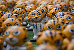 August 15, 2017 - Kuala Lumpur, KUALA LUMPUR, MALAYSIA - Hundred of RIMAU(the Malayan tiger, official  mascot of 29th SEA GAMES) sculptures are displayed at outside of Publika shopping complex in Kuala Lumpur, Malaysia, on August 15, 2017.   .The 2017 Southeast Asian Games, officially known as the 29th Southeast Asian Games and commonly known as Kuala Lumpur 2017 is a Southeast Asian multi-sport event that will take place in Kuala Lumpur, Malaysia from 19 to 30 August 2017..All 11 members of Southeast Asian Games Federation are Brunei, Cambodia, Indonesia, Laos, Malaysia, Myanmar, Philippines, Singapore, Thailand, Timor-Leste and Vietnam. (Credit Image: © Chris Jung via ZUMA Wire)
