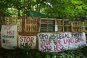 Banners draped around the perimeter of Stop HS2s Wendover Active Resistance Camp are pictured on 16th June 2021 in Wendover, United Kingdom. Large areas of land around Wendover in the Chilterns AONB have already been cleared of trees and vegetation for the HS2 rail infrastructure project in spite of concerted opposition from local residents and environmental activists.