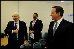 London Mayor Boris Johnson and the Prime Minister David Cameron in the green room during rally in Orpington, London, during the Mayoral Campaign, London, UK, April 18, 2012. Photo By Andrew Parsons / i-Images.