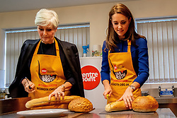 The Duchess of Cambridge helps to prepare soup and bread with Clare Blampied, during a visit to Centrepoint in Barnsley.