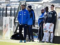 Fotball , 18. mars 2017 ,  Privatkamp , Strømsgodset - Sogndal 5-0<br /> Andreas Hoven , SIF  og Abdul-Basit Agouda , SIF<br /> trener Tor Ole Skullerud