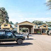 The main park gate at Ngorongoro Crater in the Ngorongoro Conservation Area, part of Tanzania's northern circuit of national parks and nature preserves.