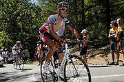 France, Bedoin, 25 July 2009: Staf Scheirlinckx (Bel) Silence - Lotto climbs Mont Ventoux during Stage 20 - Montélimar to Mont Ventoux (167 km). Photo by Peter Horrell / http://peterhorrell.com .