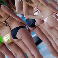 Participants line up during the Miss Bikini Hungary beauty contest held in Budapest, Hungary on August 29, 2010. ATTILA VOLGYI