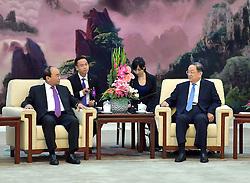 BEIJING, Sept. 12, 2016 (Xinhua) -- Yu Zhengsheng (R), chairman of the Chinese People's Political Consultative Conference (CPPCC) National Committee, meets with Vietnamese Prime Minister Nguyen Xuan Phuc in Beijing, capital of China, Sept. 12, 2016.  (Xinhua/Li Tao) (wyo) (Credit Image: © Li Tao/Xinhua via ZUMA Wire)