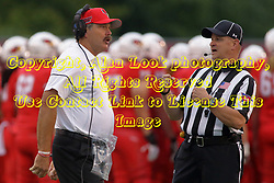 NORMAL, IL - September 08: Brock Spack seeks a clarification from Gary Shildmeyer during 107th Mid-America Classic college football game between the ISU (Illinois State University) Redbirds and the Eastern Illinois Panthers on September 08 2018 at Hancock Stadium in Normal, IL. (Photo by Alan Look)