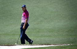 Sergio Garcia turns and glances back at the pin on the 2nd green during the third round of the Masters Tournament at Augusta National Golf Club in Augusta, Ga., on Saturday, April 8, 2017. (Photo by Jeff Siner/Charlotte Observer/TNS) *** Please Use Credit from Credit Field ***