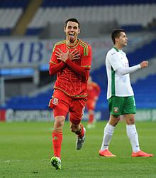 Tom O'Sullivan of Wales u21s (Cardiff City) celebrates his second goal. - Photo mandatory by-line: Dougie Allward/JMP - Mobile: 07966 386802 - 31/03/2015 - SPORT - Football - Cardiff - Cardiff City Stadium - Wales v Bulgaria - U21s International Friendly