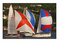 Racing at the Bell Lawrie Yachting Series in Tarbert Loch Fyne ..The start of the Bell Lawrie Yachting Series from Gourock overnight to Tarbert Loch Fyne...2160C Cara of Kip followed by Joyride GBR9828 who lost her rig the next morning during their last gybe.