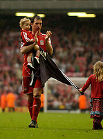 Photo: Jed Wee/Sportsbeat Images.<br /> Liverpool v Charlton Athletic. The Barclays Premiership. 13/05/2007.<br /> <br /> Liverpool's Robbie Fowler bids farewell to the Anfield crowd, accompanied by his children.