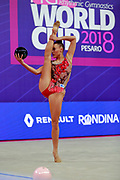 Gergalo Rebecca during the qualification of the ball at the Pesaro World Cup 2018.<br /> She was born at Helsinki in Finland in 2000. Her dream is to participate in the 2020 Olympic Games in Tokyo
