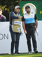 Golf - 2019 BMW PGA Championship - Thursday, First Round<br /> <br /> Francesco Molinari of Italy with his caddie at the 5th hole, at the West Course, Wentworth Golf Club.<br /> <br /> COLORSPORT/ANDREW COWIE