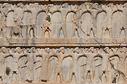 Bas releif detail of Tomb of Darius II. Achaemenid Tombs at Naqsh-e Rustam, Fars, Iran