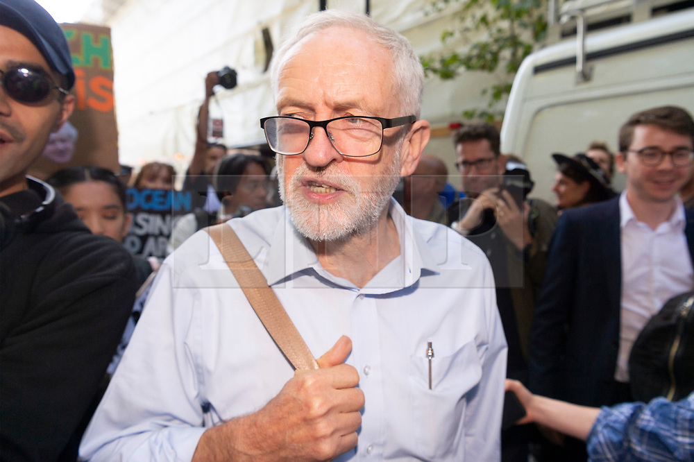 © Licensed to London News Pictures. 20/09/2019. London, UK. British Labour party leader Jeremy Corbyn arrives to make a speech at a Climate international day of protest in Westminster calling for goverment to tackle climate change a priority.  Photo credit: Ray Tang/LNP
