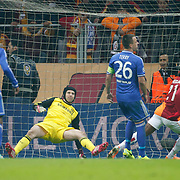 Galatasaray's Aurelien Bayard Chedjou Fongang (2ndR) scores during their UEFA Champions League Round of 16 First leg soccer match Galatasaray between Chelsea at the AliSamiYen Spor Kompleksi in Istanbul, Turkey on Wednesday 26 February 2014. Photo by Aykut AKICI/TURKPIX