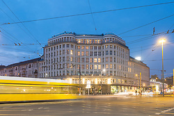 Exterior night view of Soho House Hotel and Private members Club in Mitte Berlin , Germany