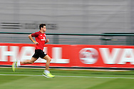 Gareth Bale sprinting during the Wales football team training at the FAW base, Dragon Park in Newport, South Wales on Monday 12th August 2013. pic by Andrew Orchard,  Andrew Orchard sports photography,