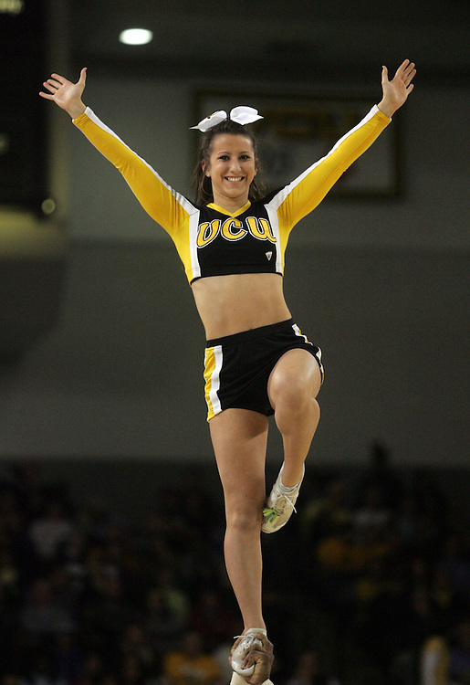 Jan 4, 2012; Richmond, VA, USA; A Virginia Commonwealth Rams cheerleader performs during a time out against the Georgia State Panthers at the Stuart C. Siegel Center. Mandatory Credit: Peter Casey-US PRESSWIRE
