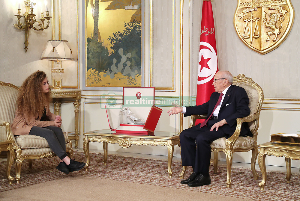 October 2, 2018 - Carthage, Tunisia - Ahed Tamimi arrived Monday 1 October in Tunisia, where she was invited by Tunisian President Béji Caïd Essebsi. An opportunity for the presidency to reaffirm Tunisia's support for the Palestinian cause...''We are happy with the support of the Tunisian people,'' Ahed Tamimi said when he arrived in Tunis on Monday (October 1st). ''For a long time, the Tunisian and Palestinian peoples have been hand-in-hand, as one people. Tunisia was the first Arab country that was chosen to speak about our cause. (Credit Image: © Chokri Mahjoub/ZUMA Wire)