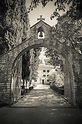 The entrance to Krka Monastery, Krka National Park, Dalmatia, Croatia