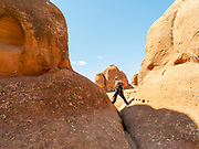 View of the Fiery Furnace, Arches National Park, Moab, Utah, USA.