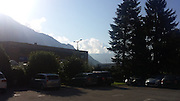 Thursday 21st August 2014: View of Mont Blanc from hotel carpark in Sallanches.