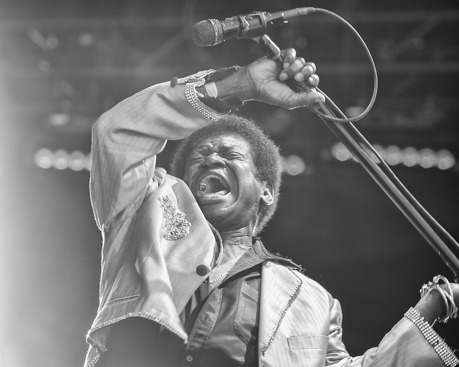 Charles Bradley swings his microphone stand while performing at the Monterey Pop Festival 50th Anniversary at the Monterey County Fairgrounds on June 16, 2017.