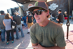 Former professional supercross and motocross rider and monster truck driver Damon Bradshaw at the Harley-Davidson Editors Choice Custom Bike Show during the annual Sturgis Black Hills Motorcycle Rally. SD, USA. August 9, 2016. Photography ©2016 Michael Lichter.