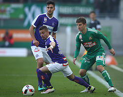 23.10.2016, Allianz Stadion, Wien, AUT, 1. FBL, SK Rapid Wien vs FK Austria Wien, 12 Runde, im Bild Tarkan Serbest (FK Austria Wien), Venuto (FK Austria Wien) und Stephan Auer (SK Rapid Wien) // during Austrian Football Bundesliga Match, 12th Round, between SK Rapid Vienna and FK Austria Wien at the Allianz Stadion, Vienna, Austria on 2016/10/23. EXPA Pictures © 2016, PhotoCredit: EXPA/ Thomas Haumer