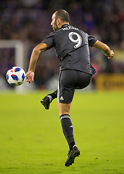 April 21, 2018 - Orlando, FL, U.S. - ORLANDO, FL - APRIL 21: Orlando City forward Justin Meram (9) receives a pass during the MLS soccer match between the Orlando City FC and the San Jose Earthquakes at Orlando City SC on April 21, 2018 at Orlando City Stadium in Orlando, FL. (Photo by Andrew Bershaw/Icon Sportswire) (Credit Image: © Andrew Bershaw/Icon SMI via ZUMA Press)