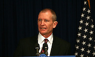 Dennis Blair makes a brief statement at a media briefing to announce that he will be the Director National Intelligence in the Obama administration.  Photograph by Dennis Brack