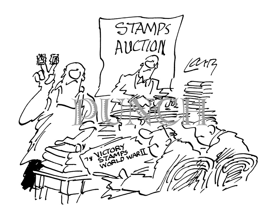 (An employee at an auction of WWII Victory stamps holds up two on his fingers in a V sign)