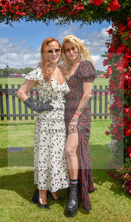 Charlotte Dellal and Alice Dellal at the Cartier Queen's Cup Polo 2019 held at Guards Polo Club, Windsor, Berkshire. UK 16 June 2019. <br /> <br /> Photo by Dominic O'Neill/Desmond O'Neill Features Ltd.  +44(0)7092 235465  www.donfeatures.com