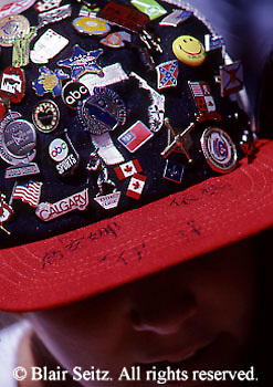Little League Baseball World Series Play, Supporter with Pins in Hat, Williamsport, PA