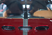 """New York, NY, USA-23 March 2016. Air vents in the hood of the Koenigsegg Regera. The model, a hybrid luxury """"megacar"""" which retails for US $2m, will be limited to 80 examples worldwide."""