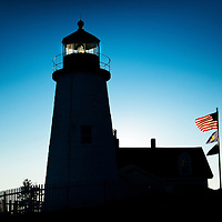 Silhouette of the famous Pemaquid Lighthouse near New Harbor Maine, built in 1827.