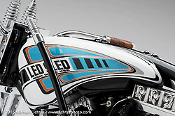 Pat Patterson of Led Sled Custom's leather and engraved metal 1200 Sportster. Photographed by Michael Lichter in Sturgis, SD on August 14. ©2016 Michael Lichter.